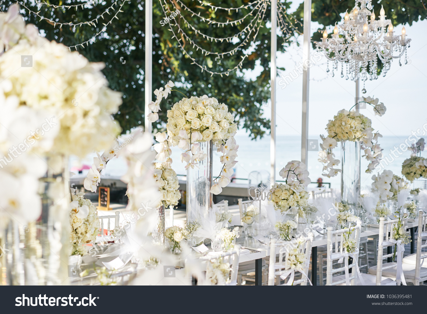 Wedding Venue Reception Dinner Table Decorated Stock Photo (Safe to ...
