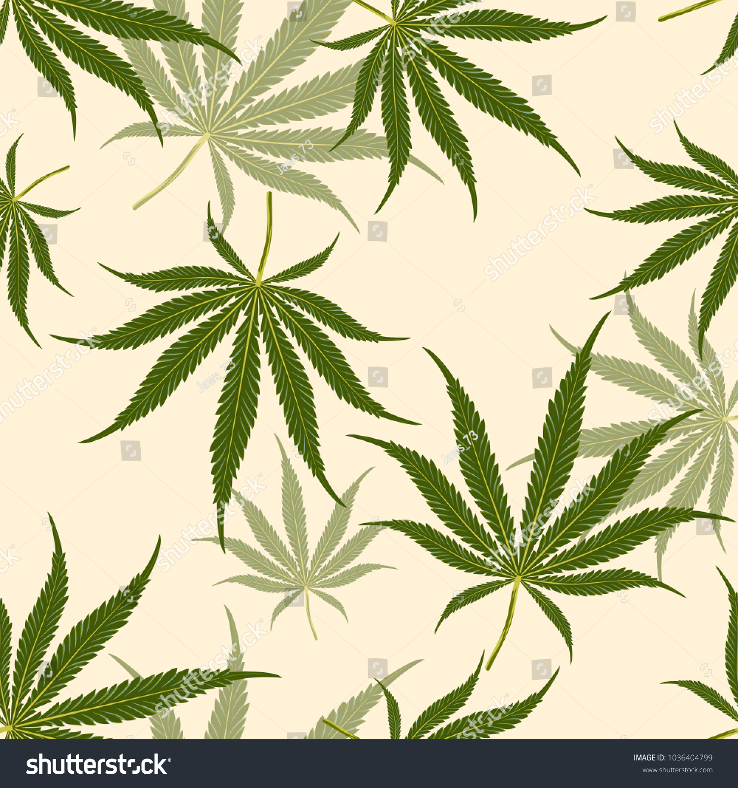 Seamless Pattern Marijuana Leaf On Pale Stock Vector (2018 ...
