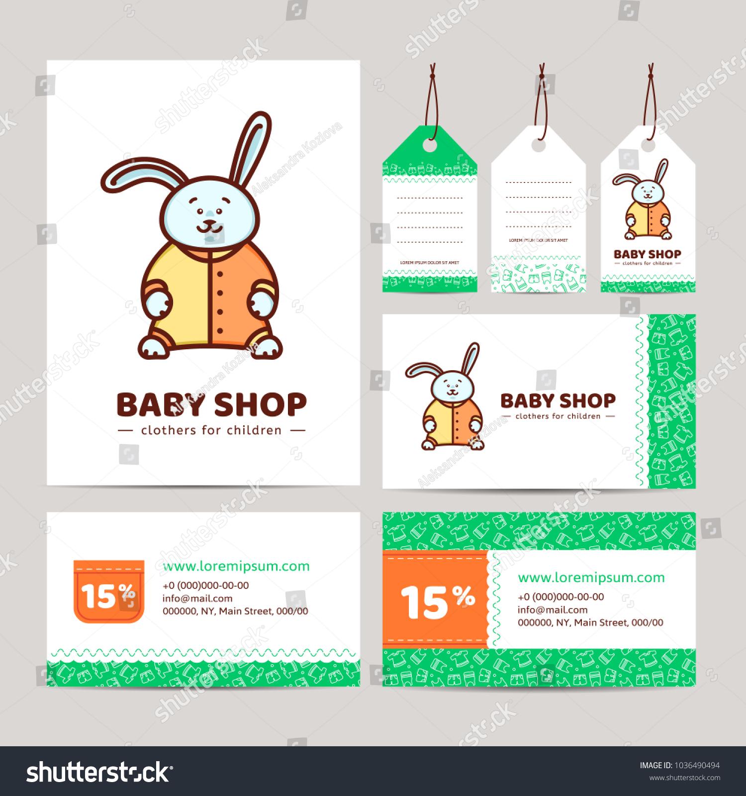 Branding Baby Shop Logo Business Card Stock Vector 1036490494 ...