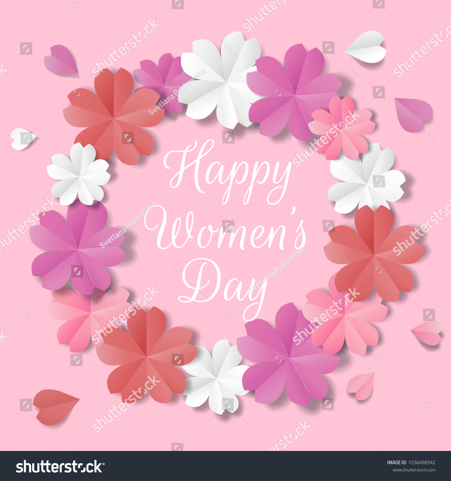 Womens Day Greeting Card In Origami Style Ez Canvas