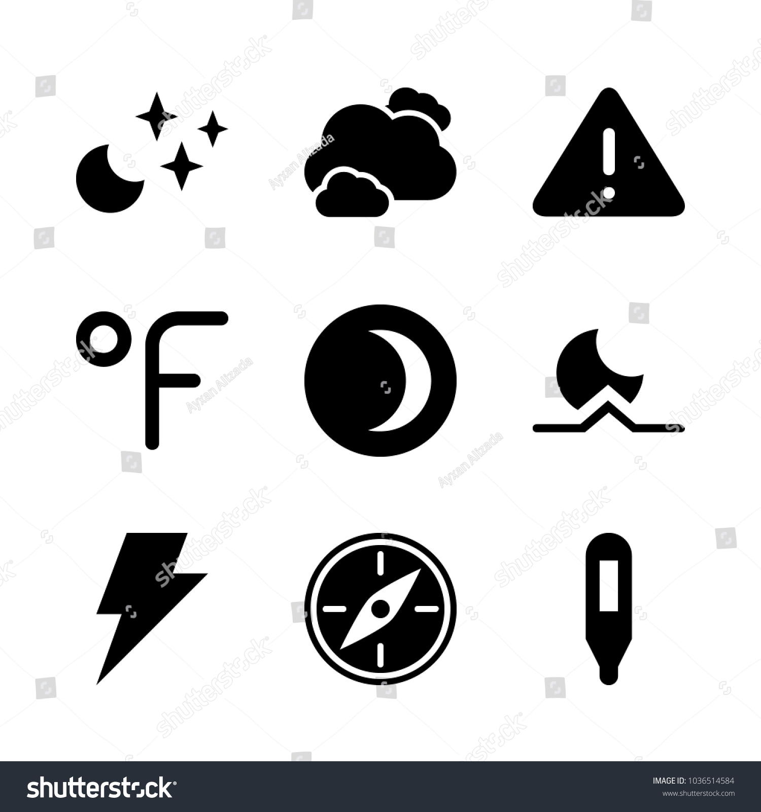 Icons weather storm weather warning crescent stock vector icons weather with storm weather warning crescent moon moonrise and clear night buycottarizona Image collections