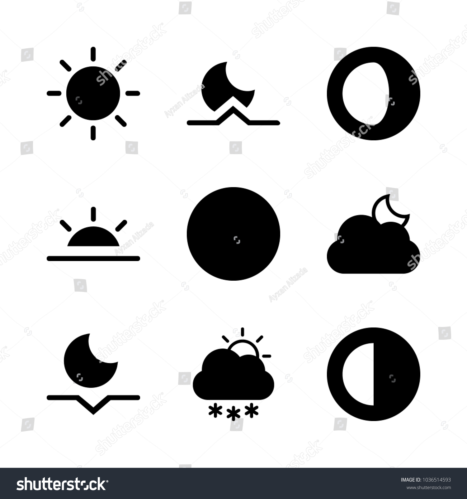 Icons Weather Half Moon Black Sun Stock Vector 1036514593 Shutterstock