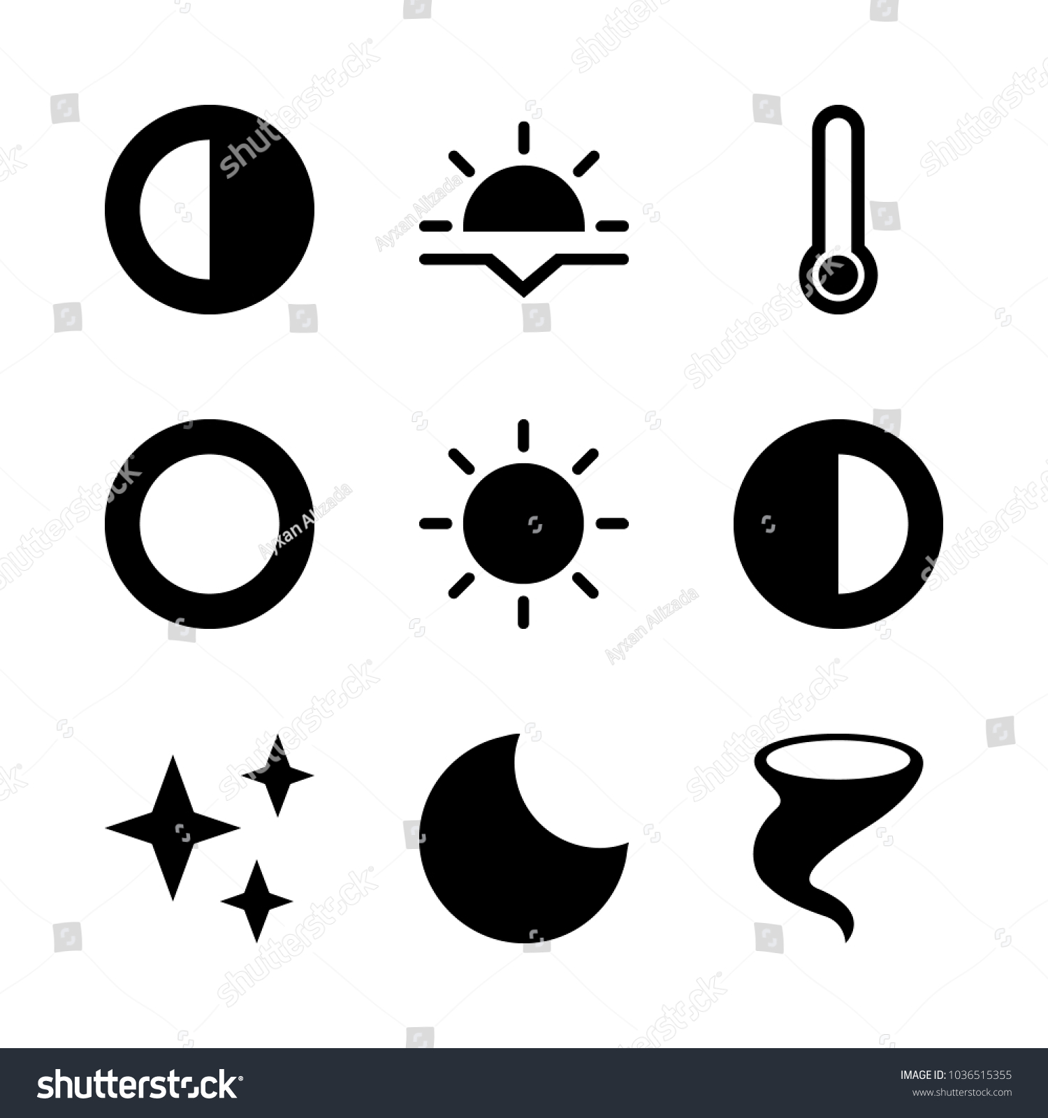 Icons Weather Half Moon Black Sun Stock Vector 1036515355 Shutterstock