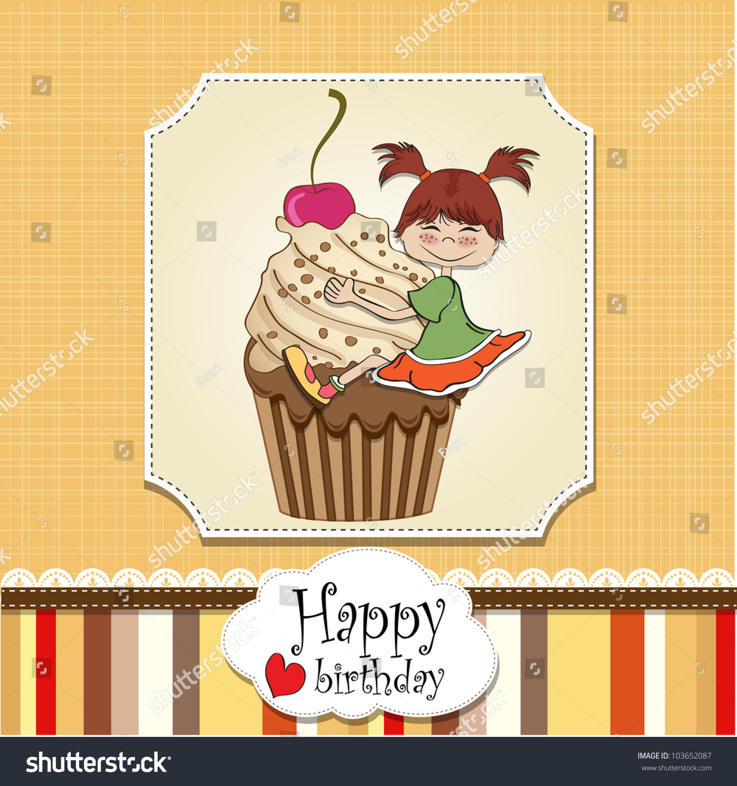 Birthday Card With Funny Girl Perched On Cupcake Vector – Funny Girl Birthday Cards