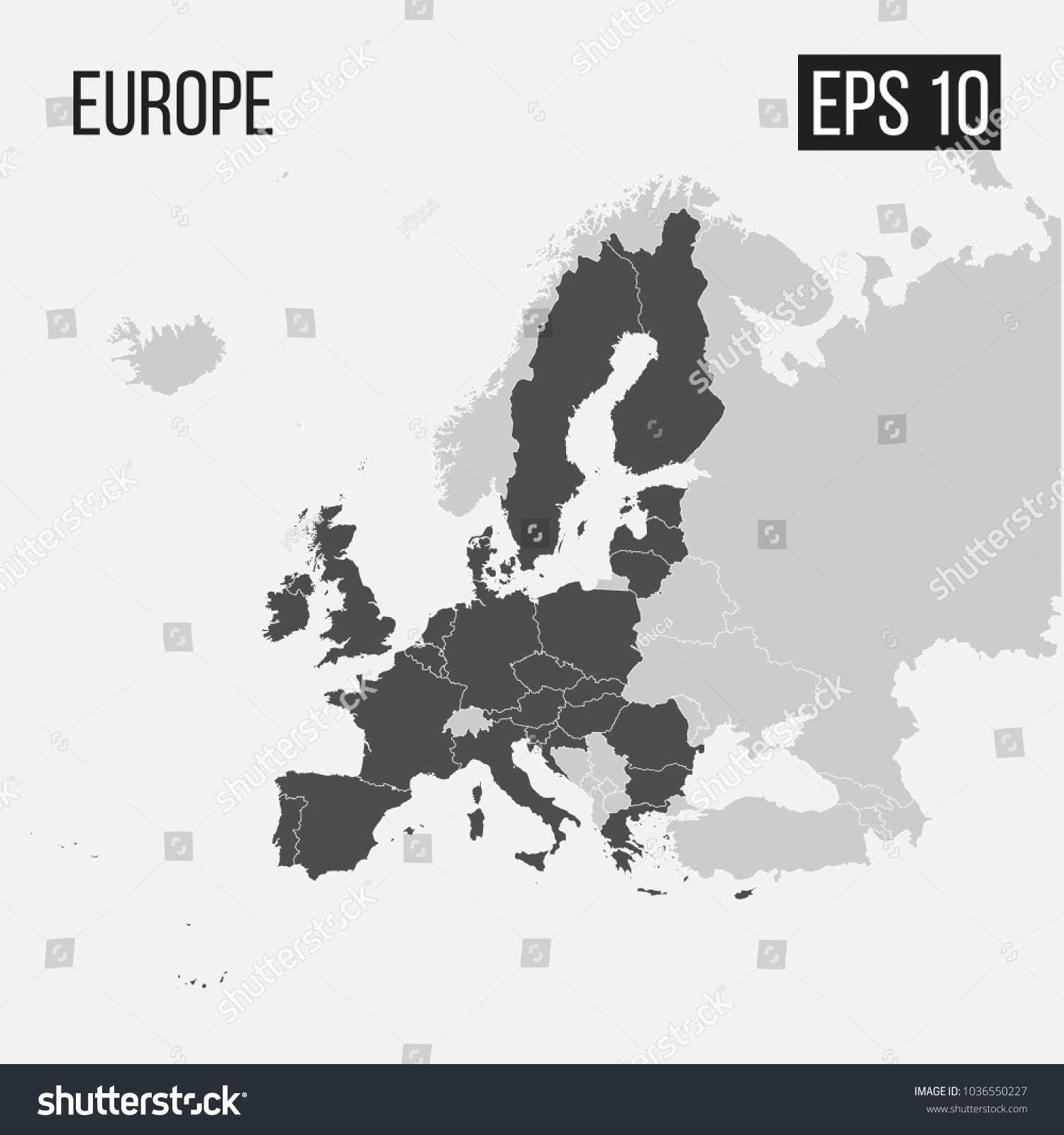 Map Europe Regions Eps 10 Stock Vector Royalty Free 1036550227
