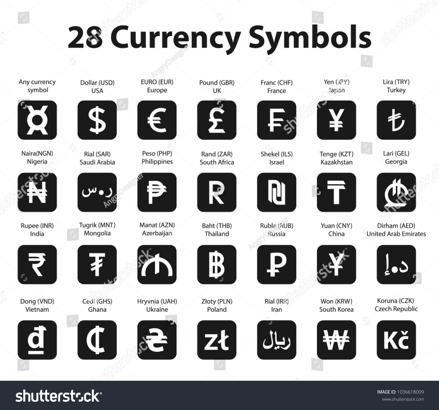 Symbols Currency Square Icons Set On Stock Vector Royalty Free
