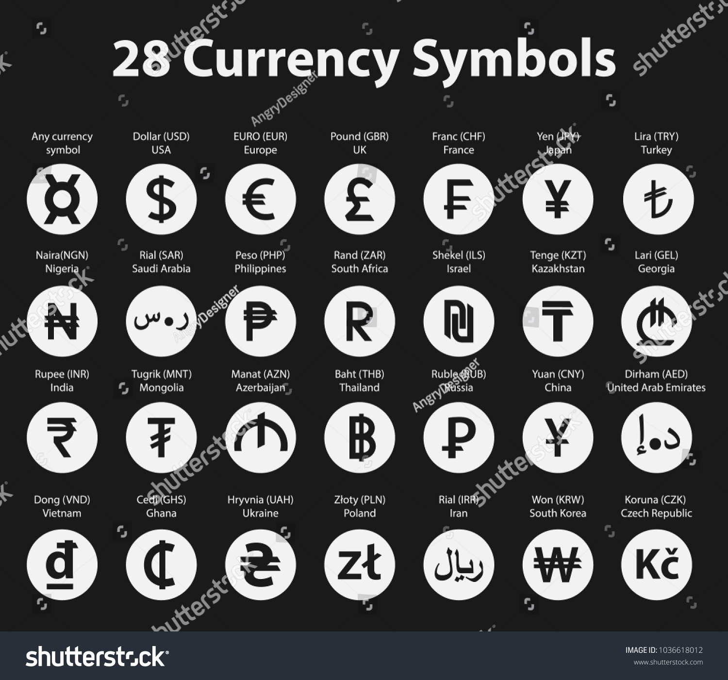 Symbols Currency Circle Icons Set On Stock Vector Royalty Free