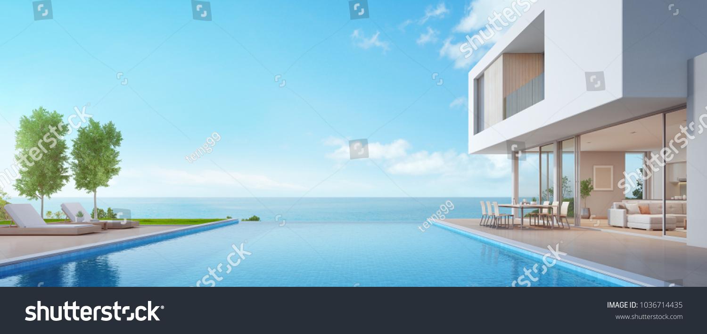 luxury beach house sea view swimmingのイラスト素材 1036714435