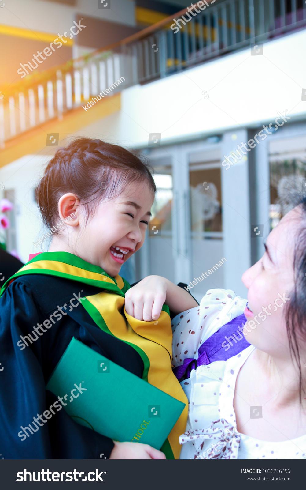 Kindergarten Graduation Happy Asian Child Graduation Stock Photo ...