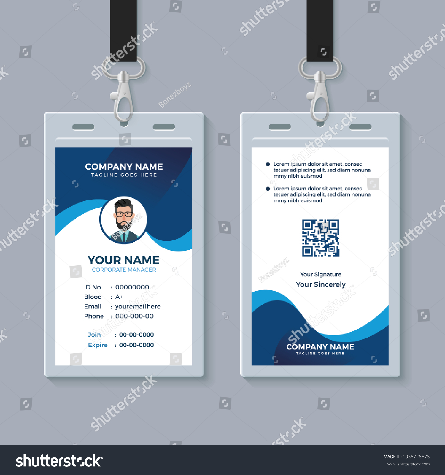 Modern Clean ID Card Template Stock Vector (Royalty Free) 1036726678 ...