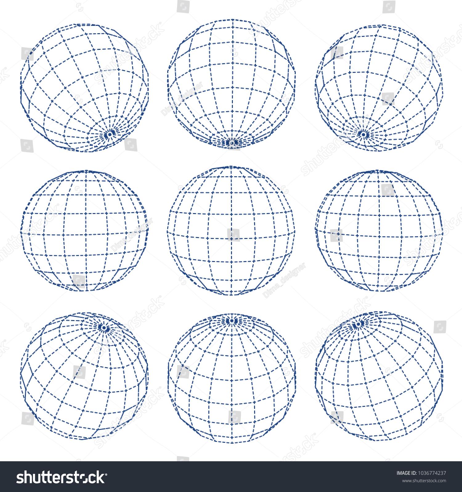 Set 3 D Spheres Globe Earth Grid Stock-Vektorgrafik (Lizenzfrei ...