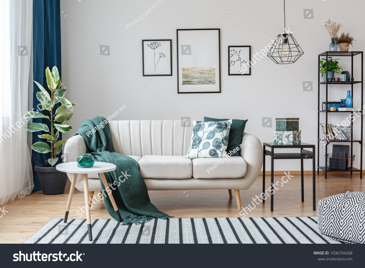 Strange Black Table Next Sofa Green Blanket Stock Photo Edit Now Uwap Interior Chair Design Uwaporg
