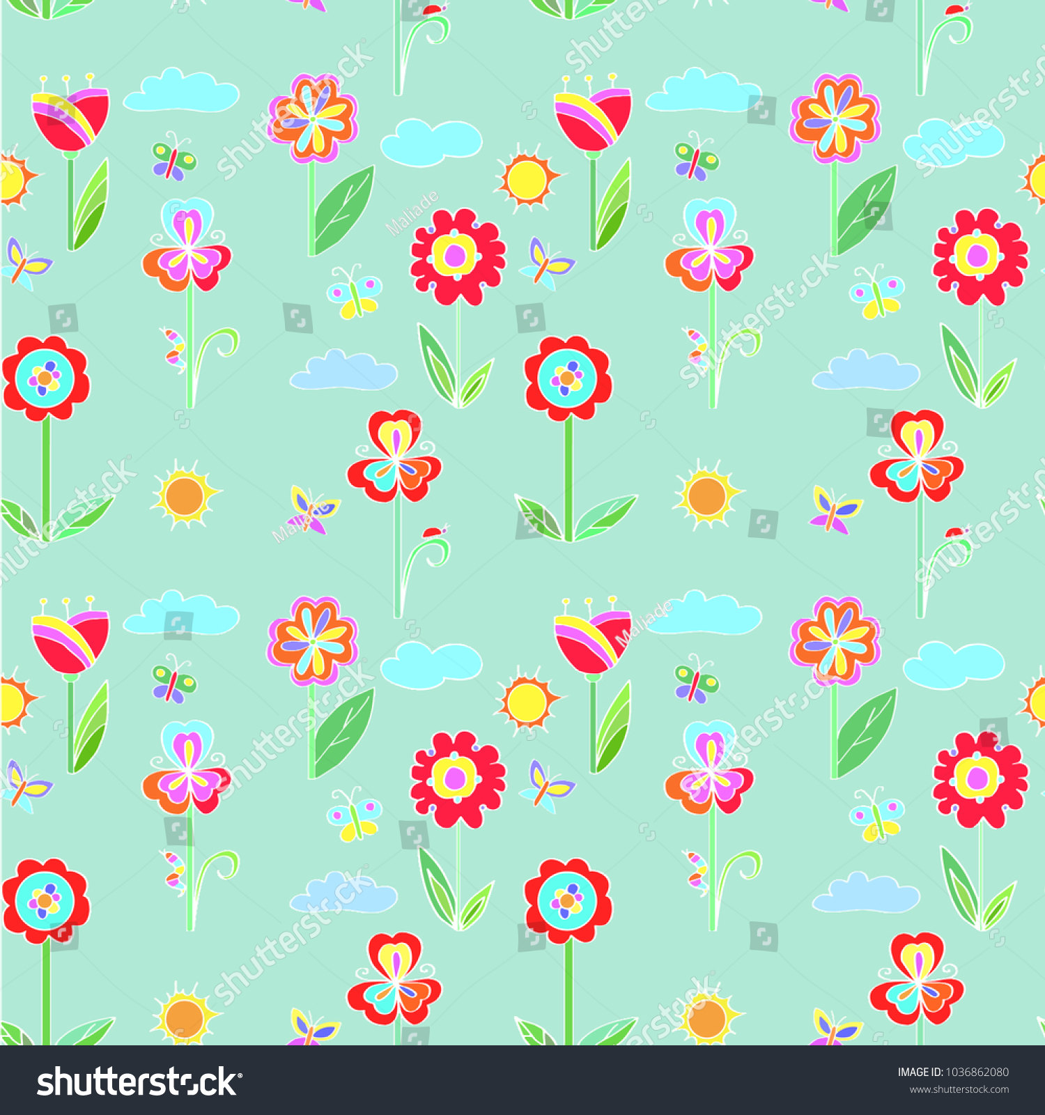 Childrens Bright Pattern Ornament Flowers Butterflies Stock Vector ...