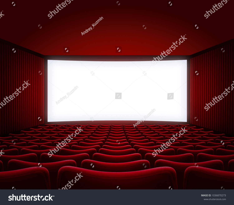 Movie Theater Hall Red Seats Interior Stock Illustration