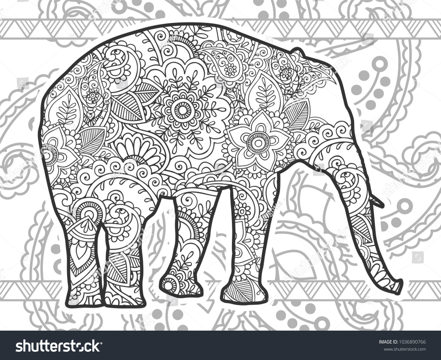 Adult Coloring Bookpage Elephant Ornamental Background Stock Vector ...