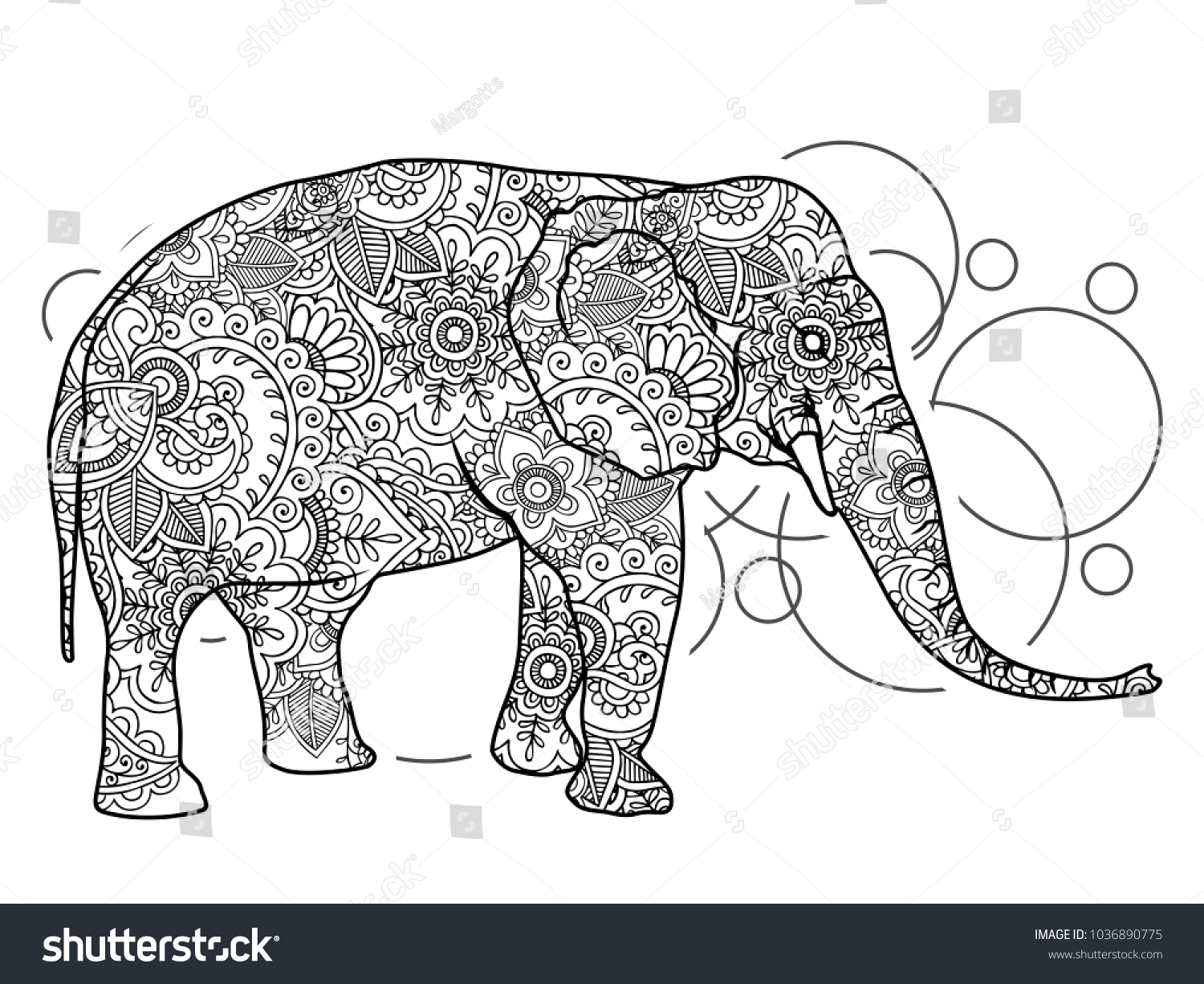 The cheerful elephant. The silhouette of the elephant collected from ...