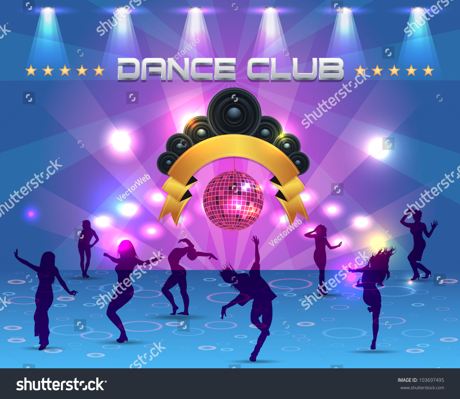 Dance Party Banner Background Flyer Templates Stock Vector Royalty Free 103697495