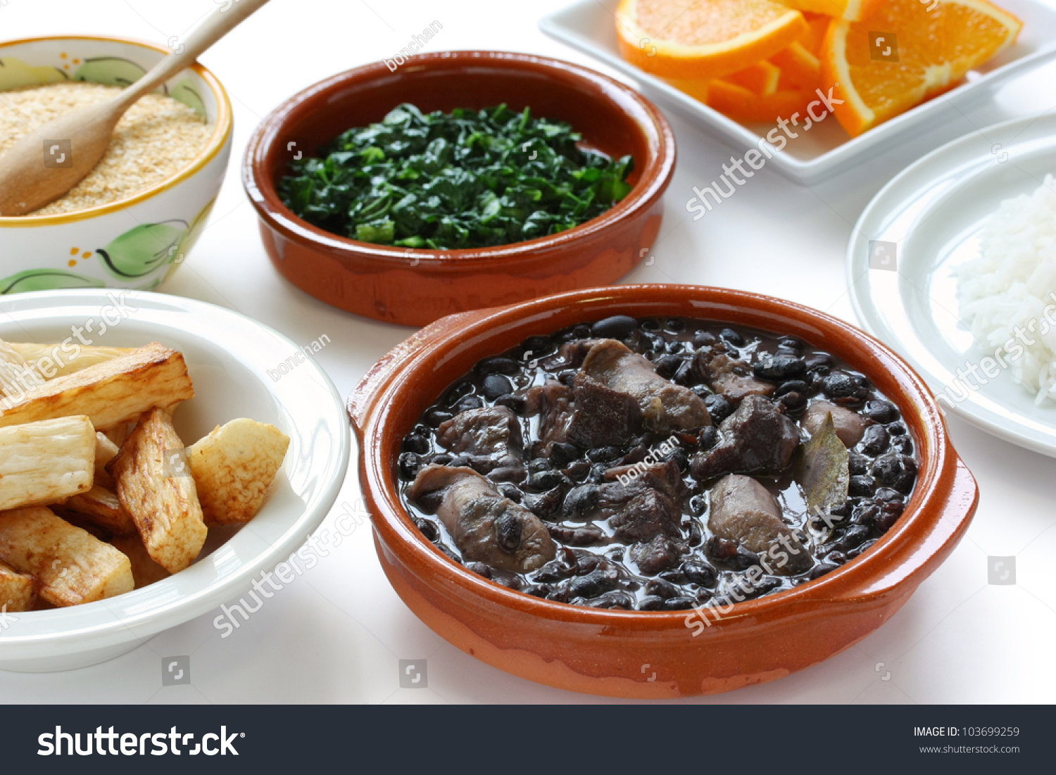 Feijoada, Black Beans And Meat Stew, Brazilian Cuisine Stock Photo ...