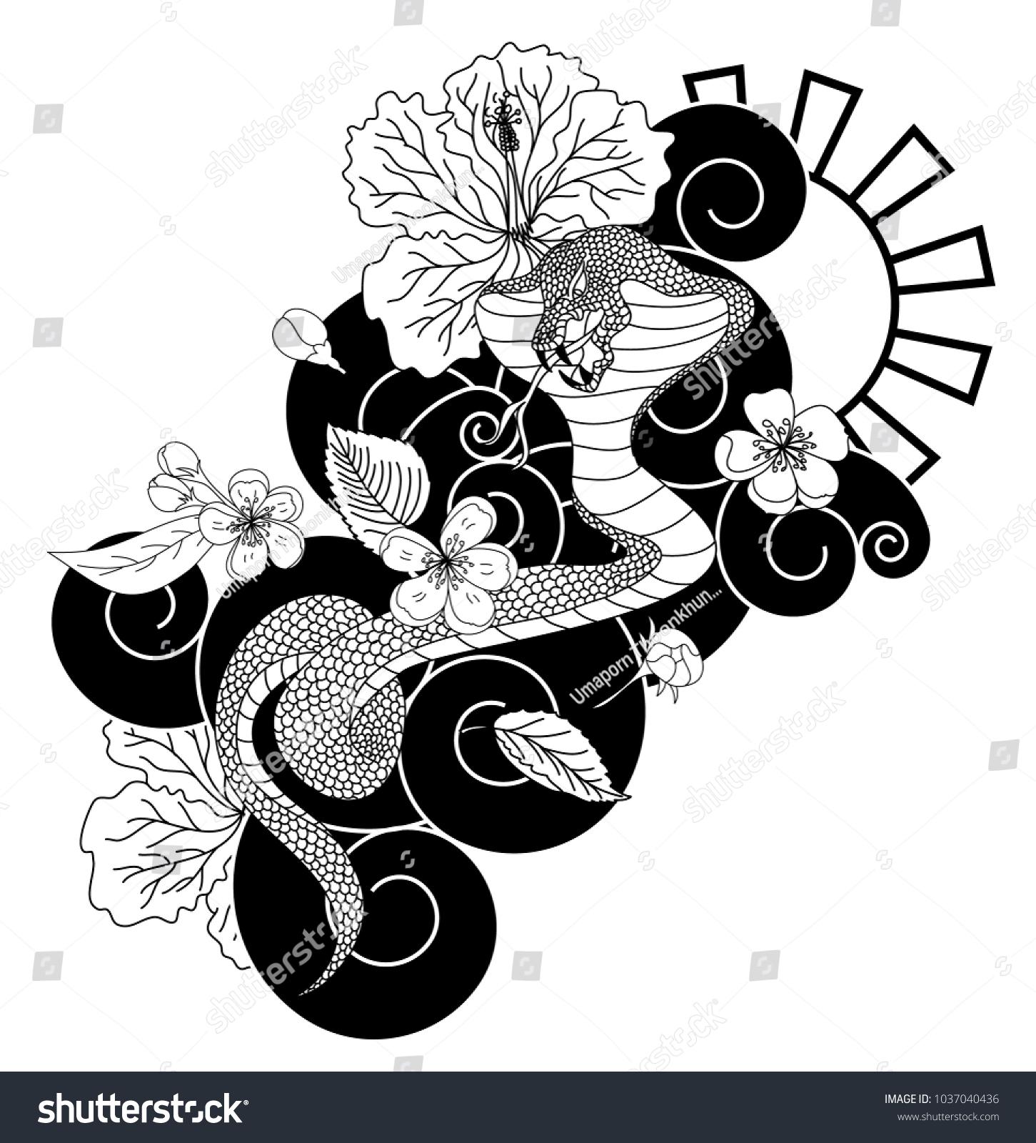 Black white vector snake cherry blossom stock vector royalty free black and white vector snake with cherry blossom and cloud backgroundhibiscus flower with sakura izmirmasajfo
