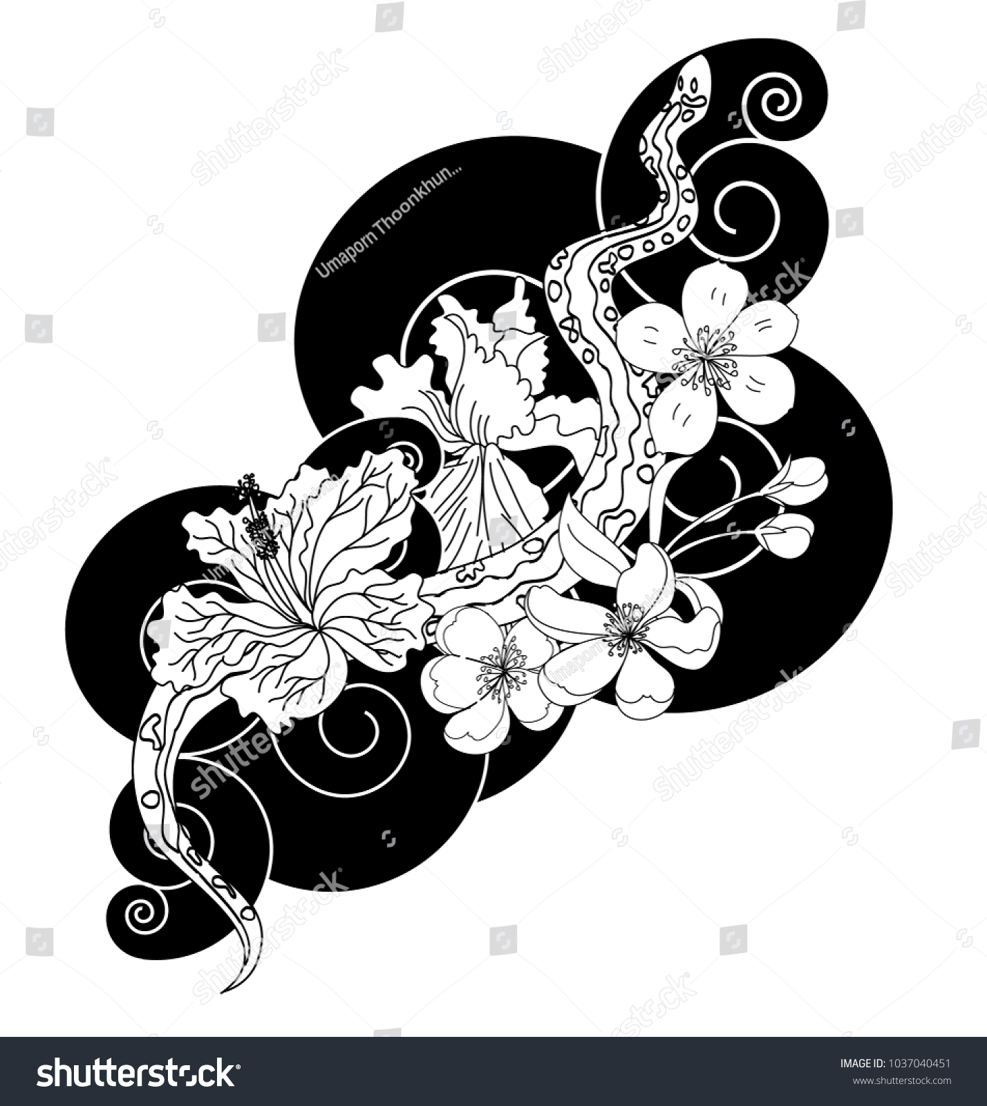 Black and white vector snake with cherry blossom and cloud id 1037040451 izmirmasajfo