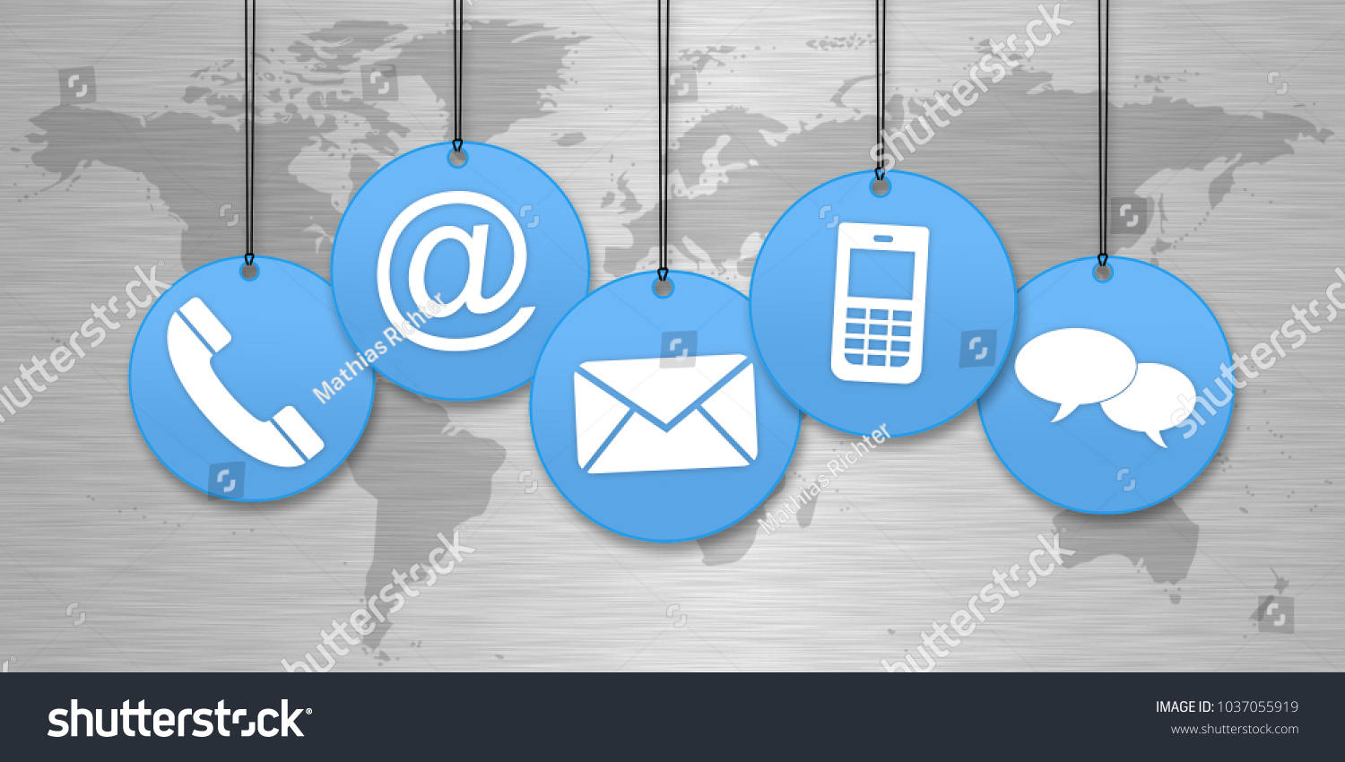 Blue Contact Us Symbols Hanging Front Stock Illustration 1037055919
