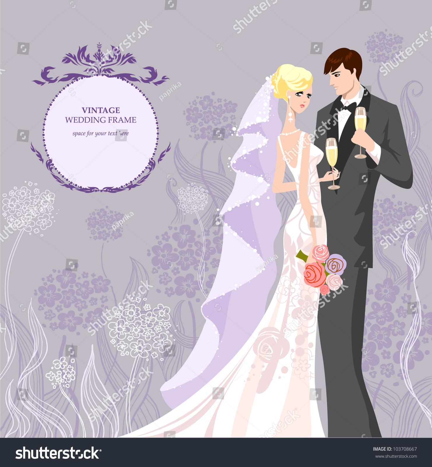 Wedding Invitation Bride Groom Stock Vector 103708667 - Shutterstock
