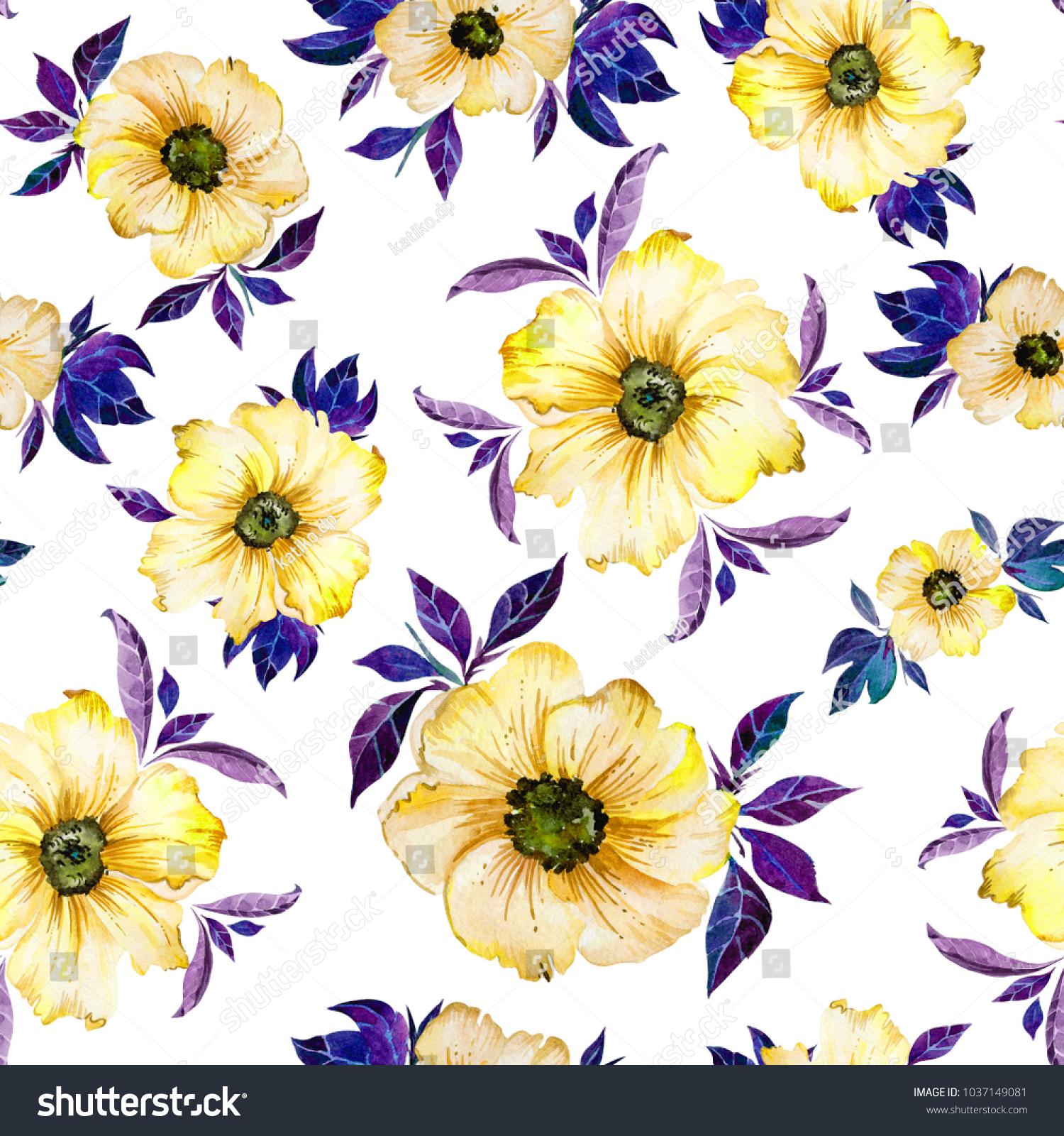 Beautiful Yellow Flowers Purple Leaves On Stock Illustration