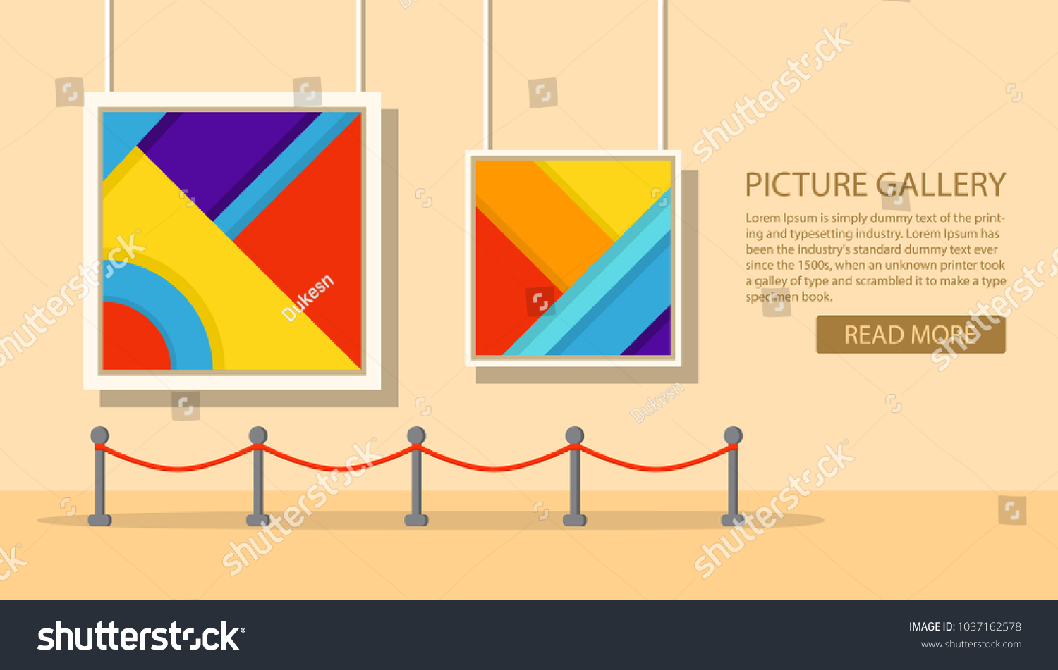 Art Museum Modern Paintinginterior Abstract Exhibitionpicture Stock ...