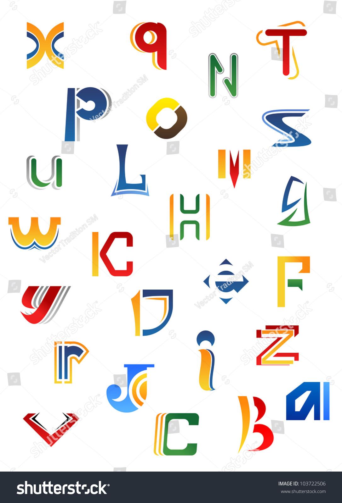 Decorative Letters Set Full Alphabet Decorative Letters Different Stock Vector