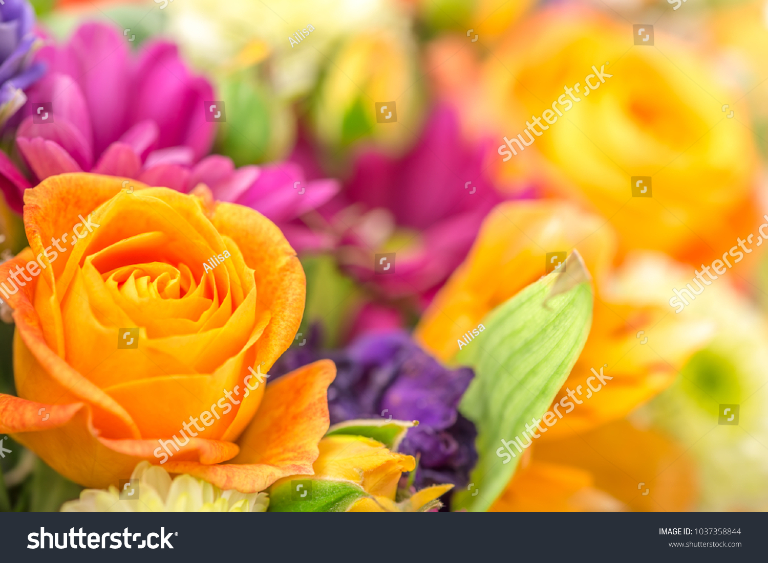 Beautiful flowers bouquet yellow rose greeting stock photo edit now beautiful flowers bouquet with yellow rose greeting card concept of 8 march day izmirmasajfo