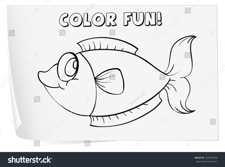 colour worksheet fish stock vector 103740458 shutterstock
