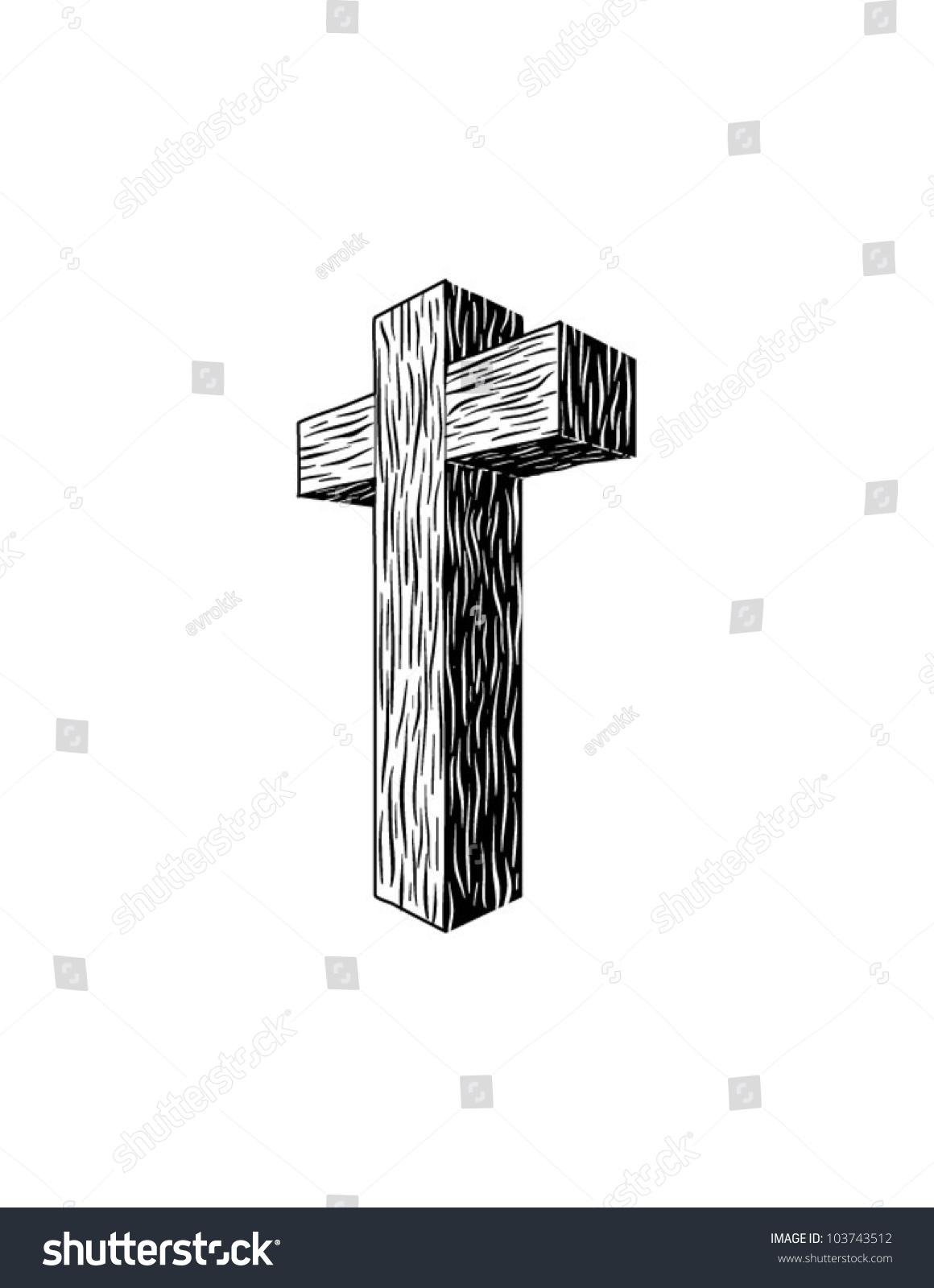 Wooden Cross Vector - 103743512 : Shutterstock