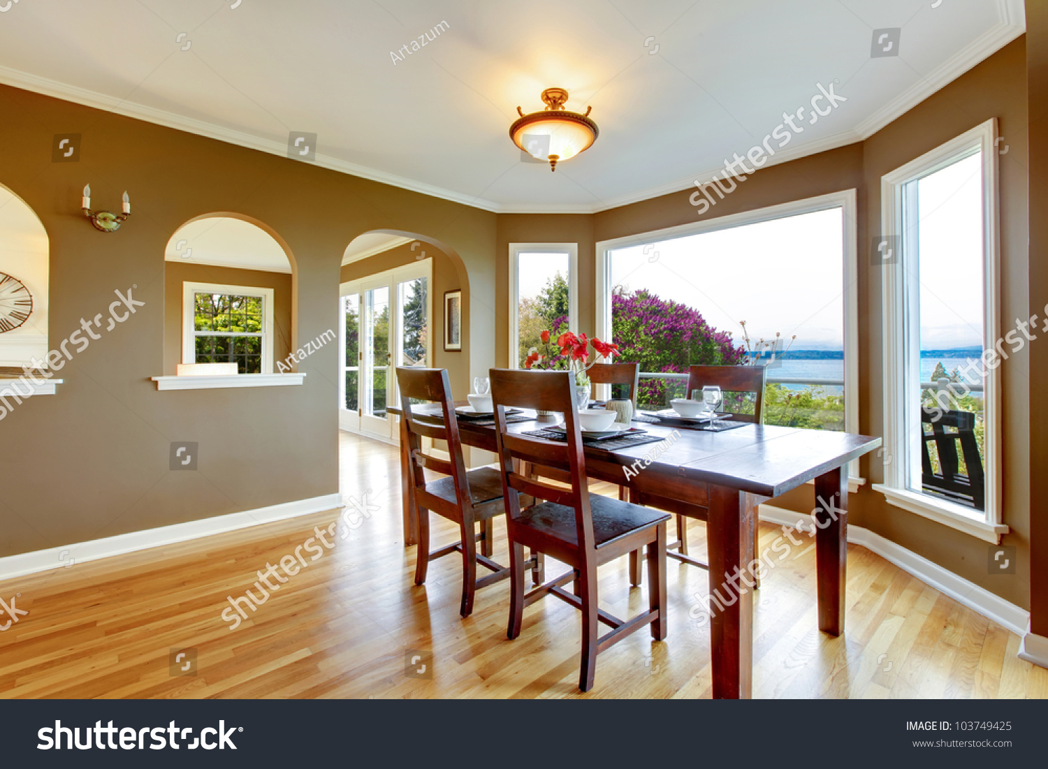 Dining Room Brown Walls Wood Table Stock Photo 103749425