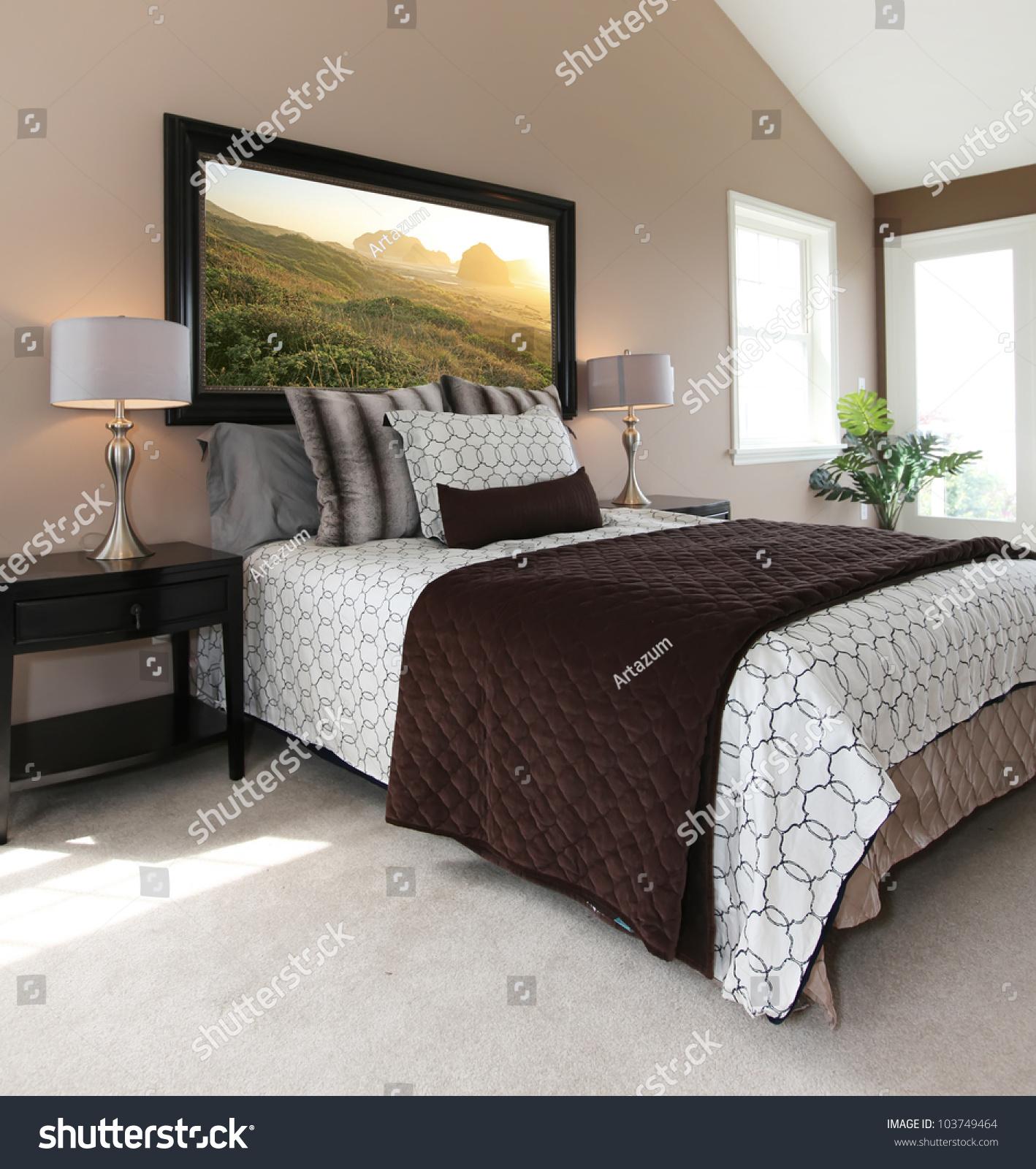 bedroom modern white brown bed nightstands stock photo