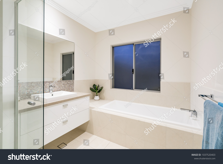 Interior of modern Australian bathroom with minimal Scandinavian ...