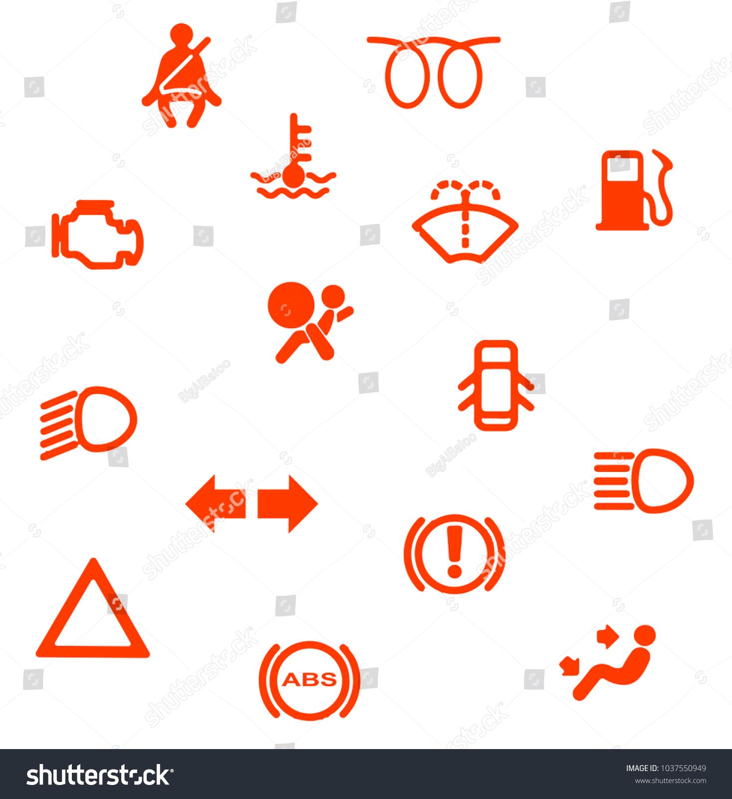 Collection Automobile Dash Warning Light Symbols Stock Illustration