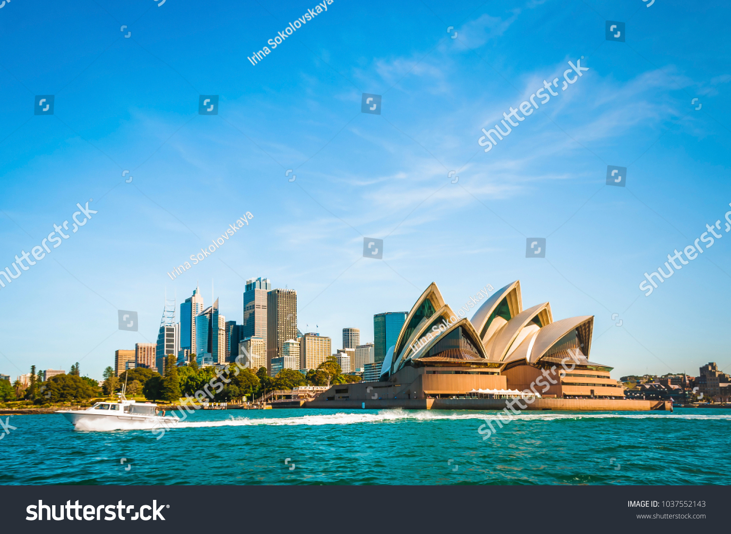 The city skyline of Sydney, Australia. Circular Quay and Opera House. #1037552143