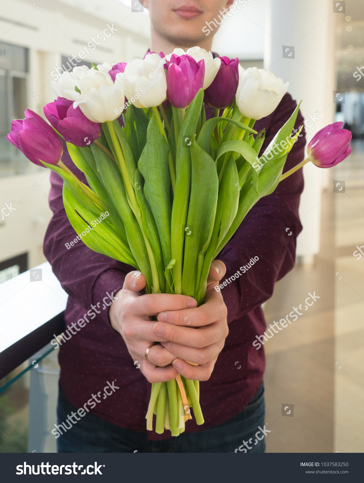 Man Holding Tulips Gift Card Template Stock Photo Edit Now
