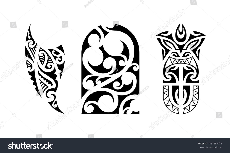 Set Polynesian Tattoo Traditional Maori Tribal Stock Vector Royalty