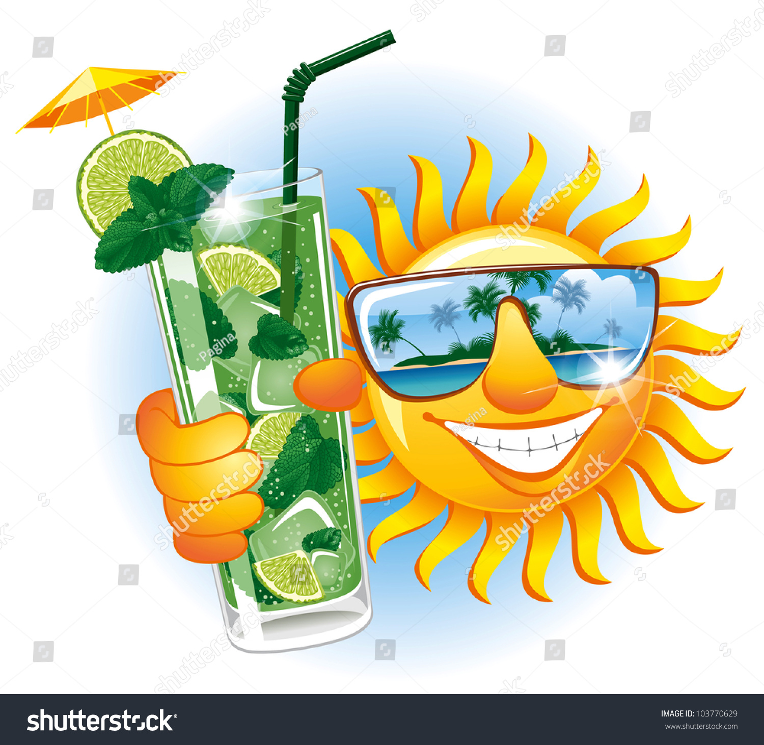 Cheerful Sun Sunglasses Refreshing Cocktail Stock Vector 103770629 Shutterstock