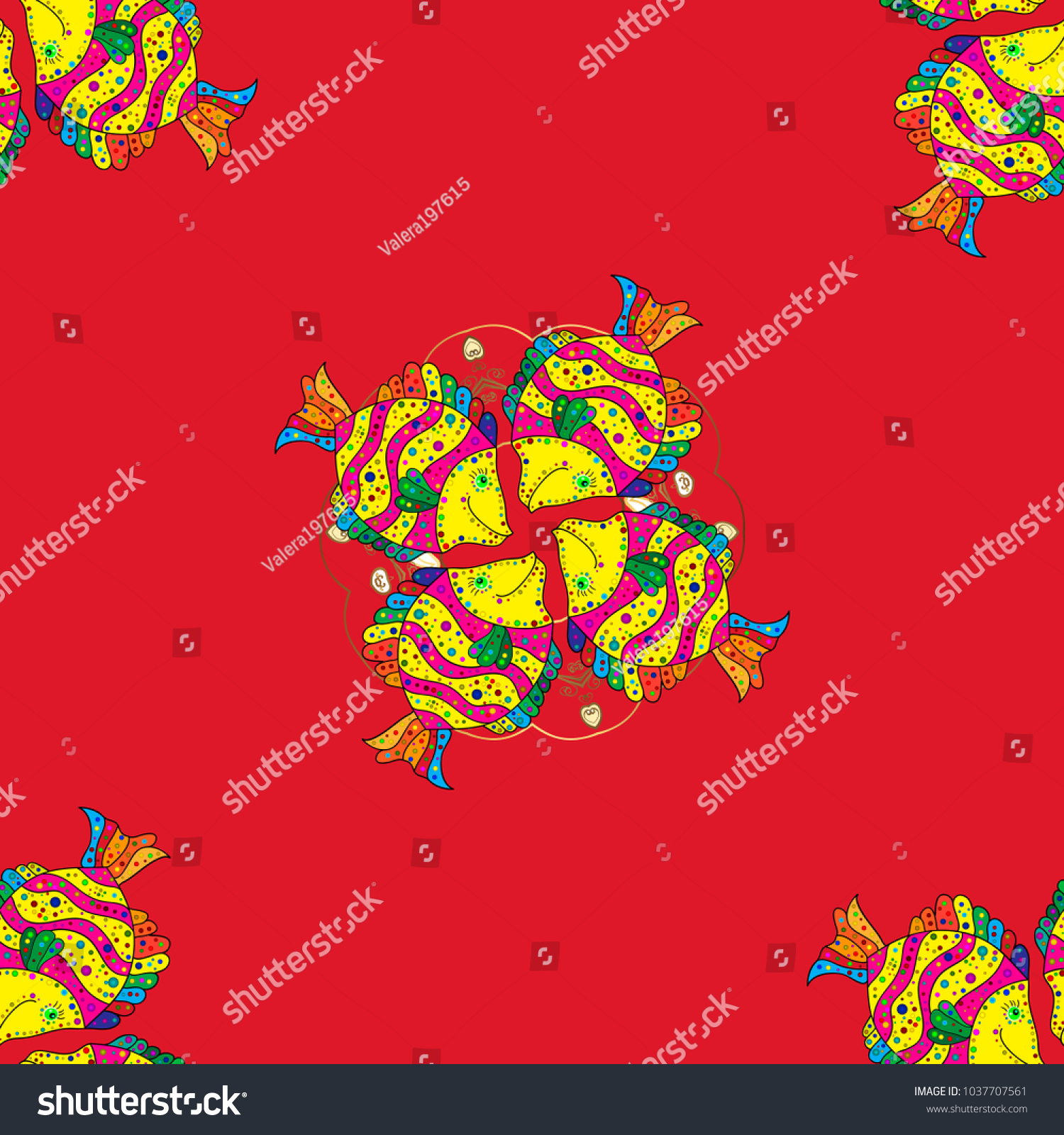 Doodle Tropical Fish On Red Yellow Stock Illustration 1037707561 ...