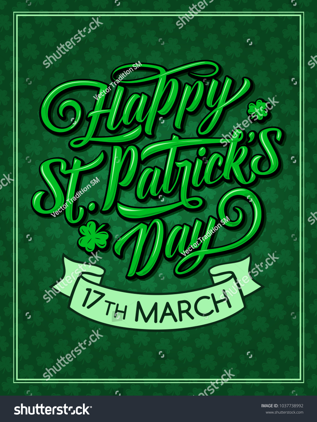 Happy St Patrick Day Greeting Card Stock Vector Royalty Free