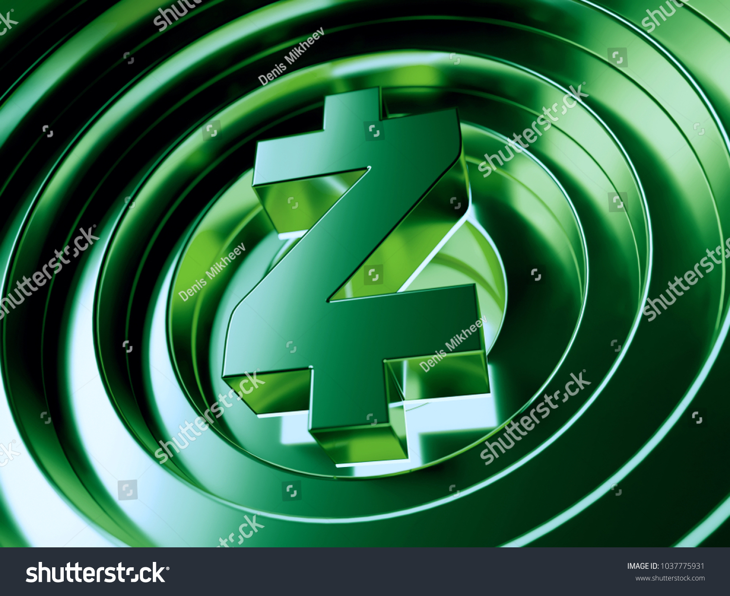 Zcash Crypto Currency Symbol Center Green Stock Illustration