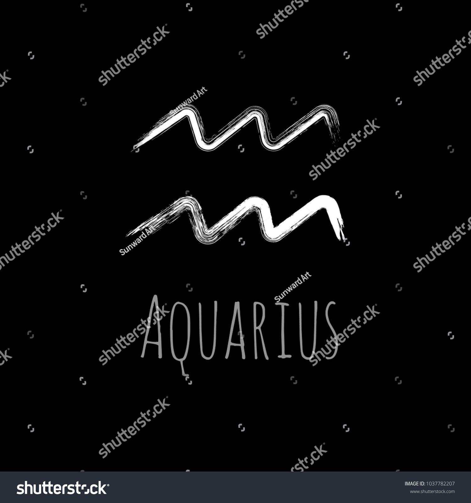 White Aquarius Zodiac Sign Hand Painted Stock Vector 1037782207