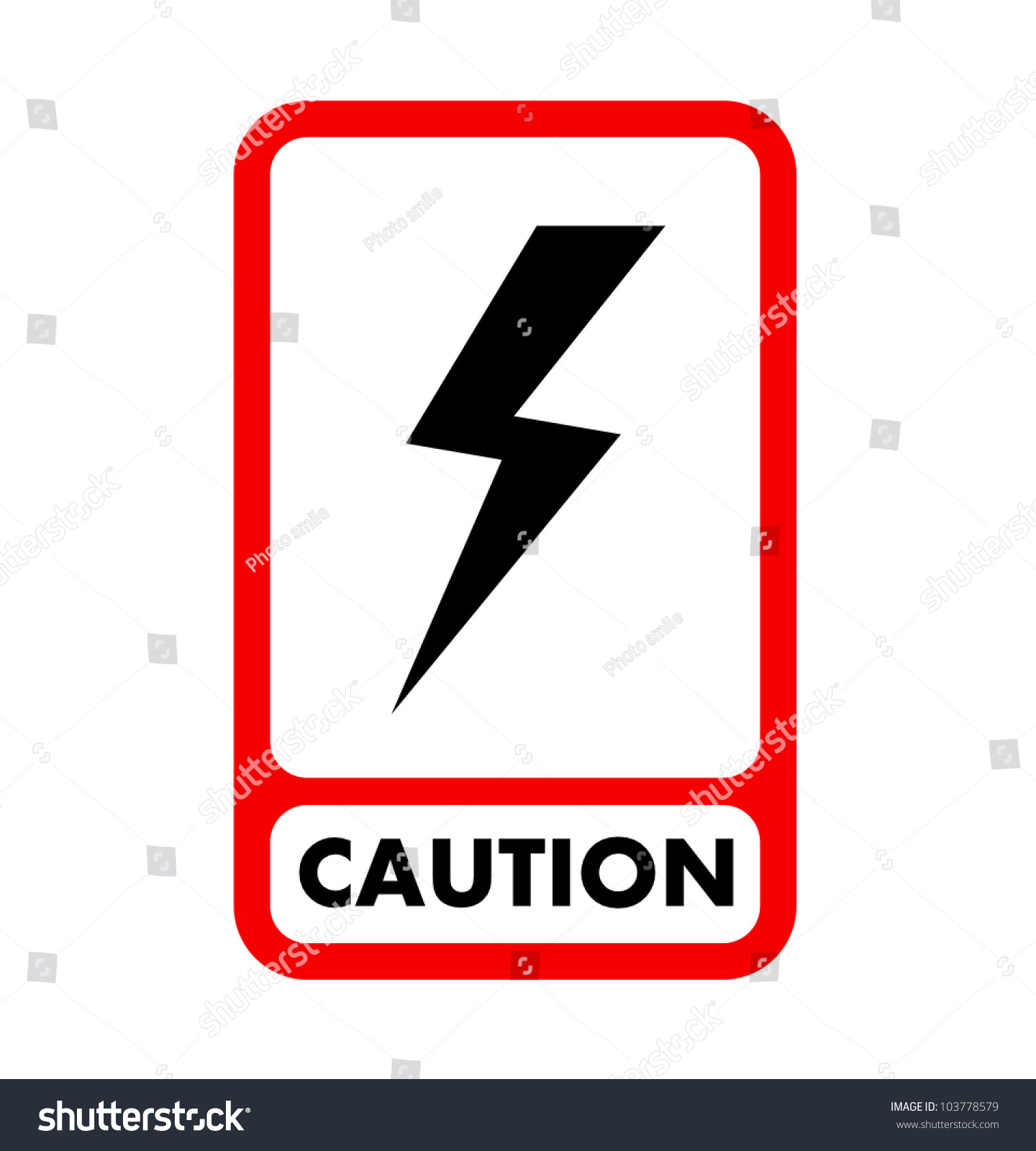 Electric Shock Caution Plate Vector Eps 10 Stock Vector 103778579 ...