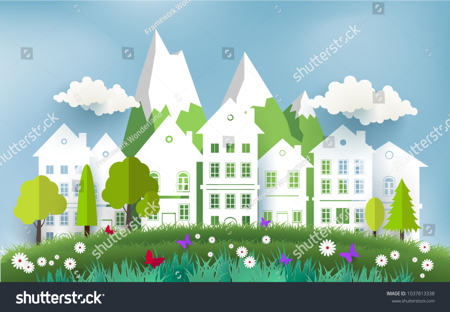 Spring Break Scenery Green Grass Beautiful Stock Vector Royalty
