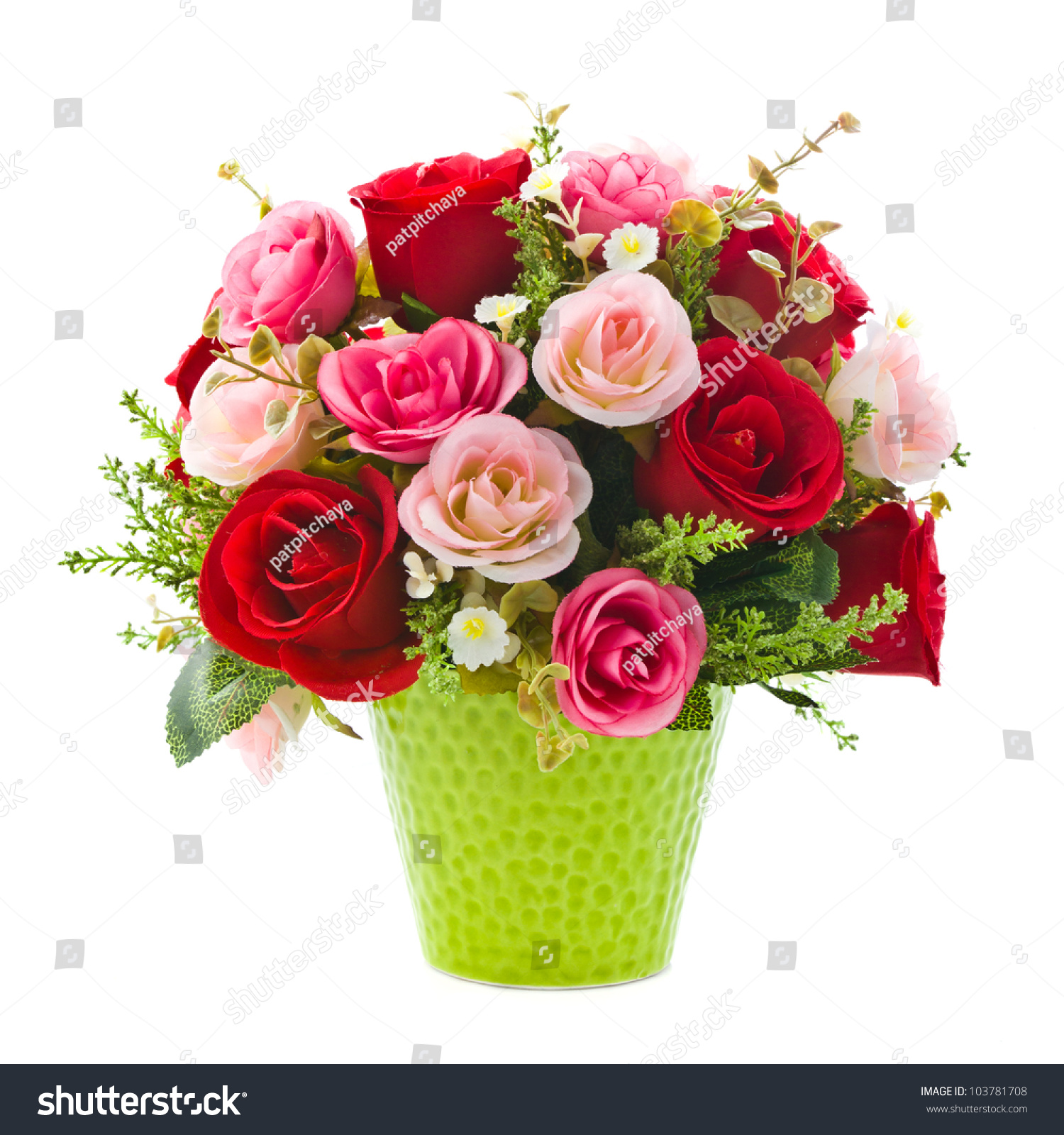 Flower Pots With Artificial Flowers Stock Photo Artificial Rose Flowers In Green Vase