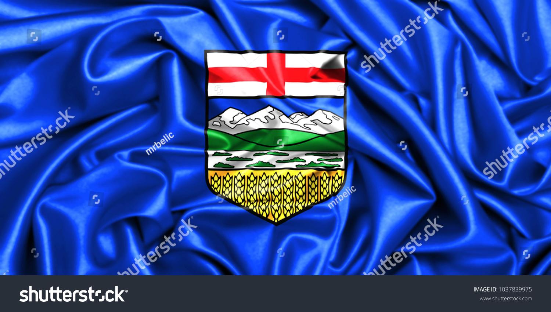Canada Provinces Set 3 D Waving Flag Alberta Stock Illustration