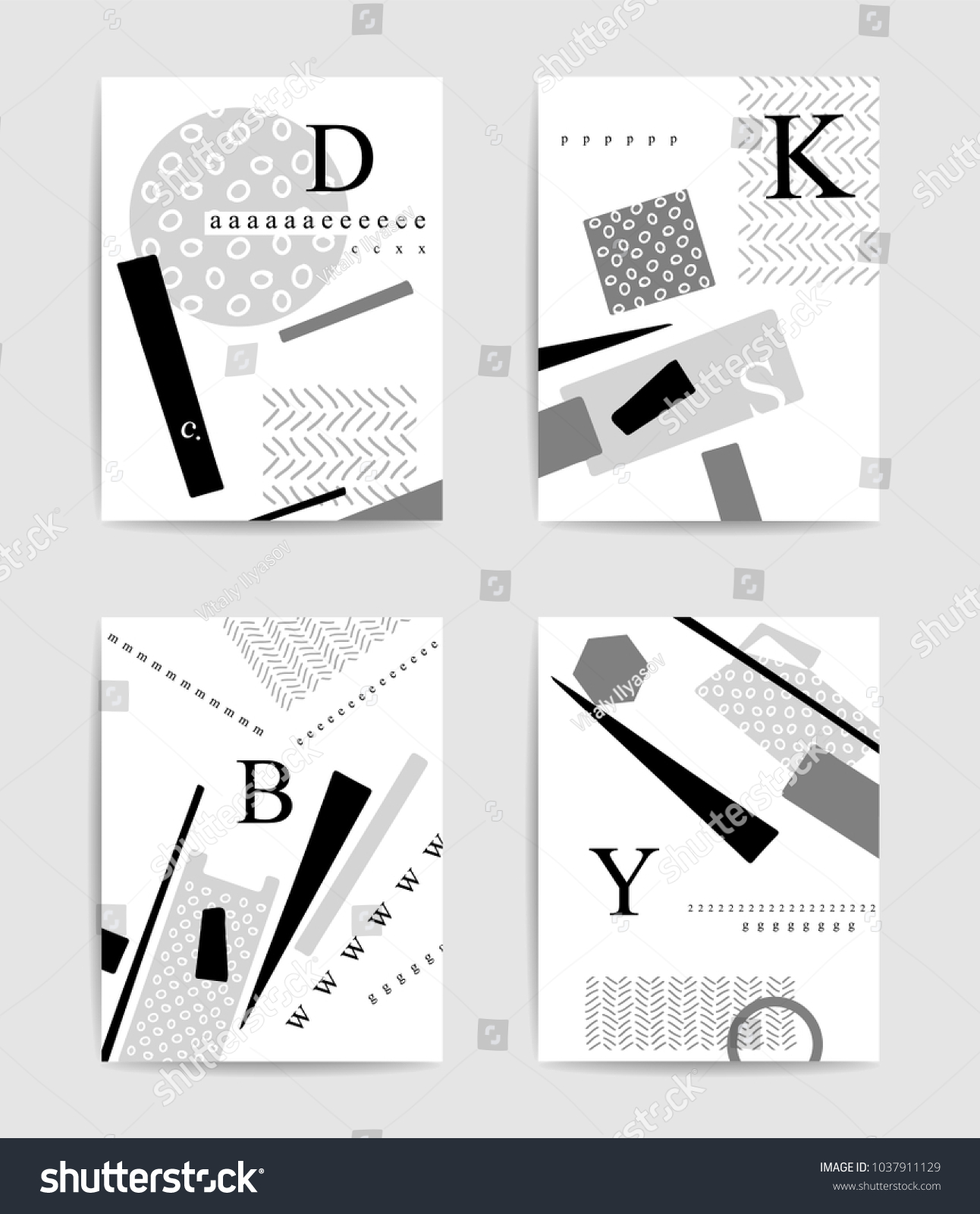 Grayscale Geometric Typography Template Set Design Stock Vector ...