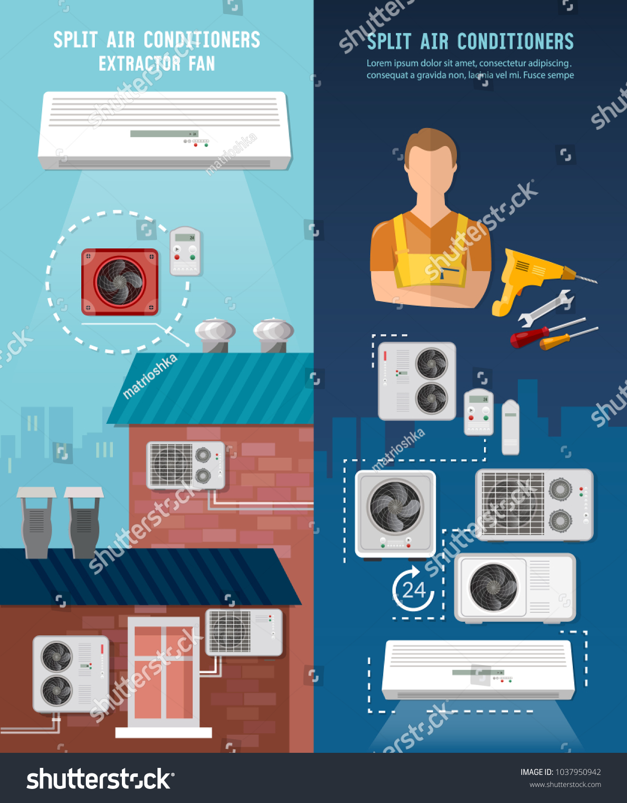 Air Conditioner Installment Air Conditioning Repair Stock Vector ...